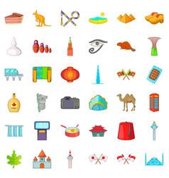 Beautiful landmark icons set cartoon style vector