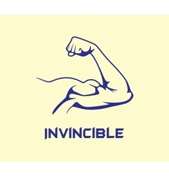 Bicep strong with invincible text flat vector