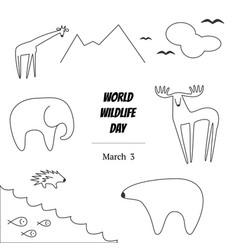 Black and white of world wildlife vector