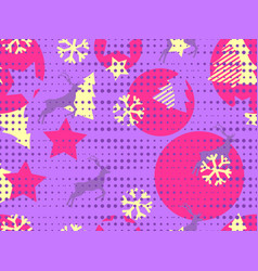 christmas seamless pattern memphis vector image vector image
