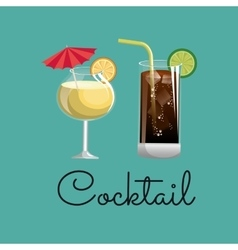 cocktail glass fruit and ice design vector image