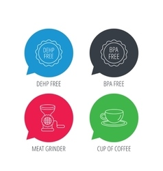 Coffee cup meat grinder and bpa free icons vector