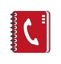 color image cartoon phone book with spirals vector image