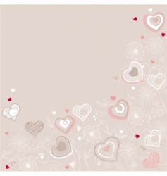 contour hearts on pastel background vector image vector image