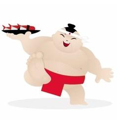 Cute sumo sushi chef vector