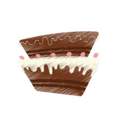 drawing cake pastry sweet cherry vector image