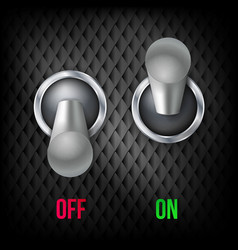 electric switch 3d chrome metallic toggle vector image vector image