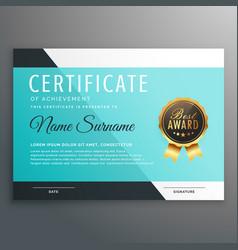 elegant blue certificate template design vector image vector image