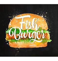 Fish burger chalk vector