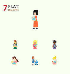 Flat icon mother set of baby perambulator parent vector