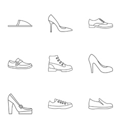 Footwear icons set outline style vector