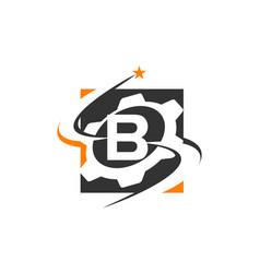 Gear solution logo letter b vector