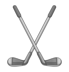 Golf clubs icon gray monochrome style vector image