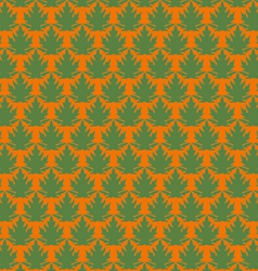 Green papaya leaf pattern in orange background vector