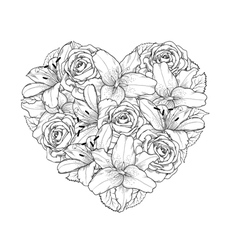 heart decorated by flowers roses and lilies vector image