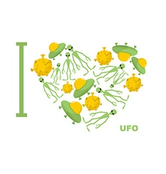 I love UFO Symbol heart of humanoid alien and vector image