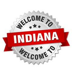 Indiana 3d silver badge with red ribbon vector