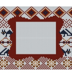 Knitted folk background with frame for your text vector image vector image
