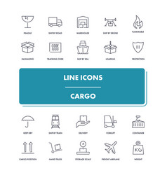 line icons set cargo vector image vector image