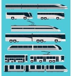 Public transport orthogonal icons set vector