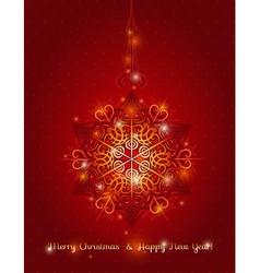 Red background with big snowflake vector
