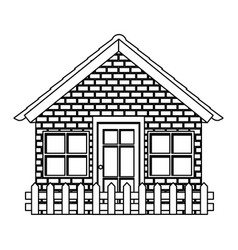 Silhouette comfortable facade house with brick vector