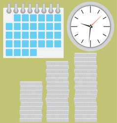 Time is money coin silver stock with clock vector
