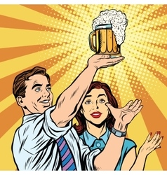 Triumph beer festival bar pub man and woman vector image vector image