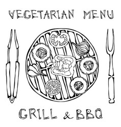 Vegetarian grill vegetable bbq picnic and vector