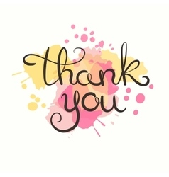 Thank you card hand drawn lettering design vector