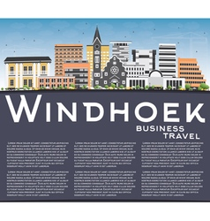 Windhoek skyline with color buildings vector
