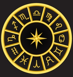 Golden zodiac symbols circle vector