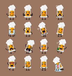 Glass of beer character emoji set vector