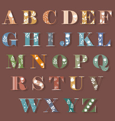Colorful alphabet with white floral decor vector