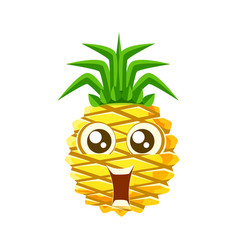 Smiling funny pineapple with big eyes cute vector