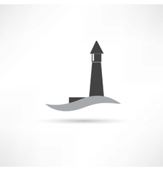 Lighthouse and wave icon vector