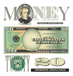 Money 20 dollars vector
