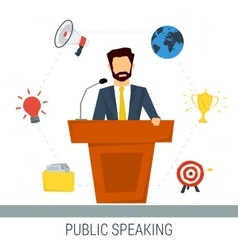 Public speaker from tribune vector