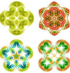 Multicolor abstract flower set vector