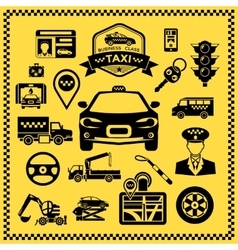 Taxi decorative icons set vector