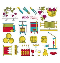 Wine making and wine tasting flat design elements vector