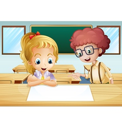 A girl and a boy watching the empty signboard vector image