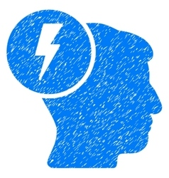 Brain electricity grainy texture icon vector