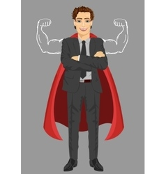 businessman wearing superhero costume vector image vector image