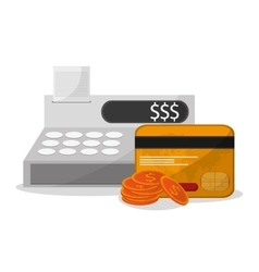 Cash register and shopping online design vector