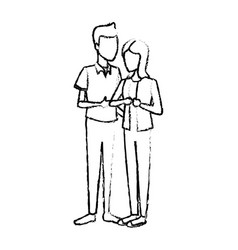 couple students girl and guy character standing vector image vector image