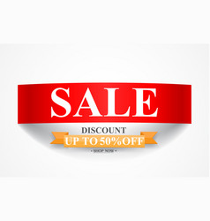 curved paper sale discount banner vector image