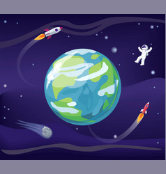 earth and spaceman poster vector image