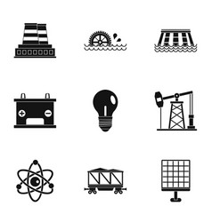 energy icon set simple style vector image vector image