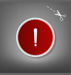 Exclamation mark sign red icon with for vector
